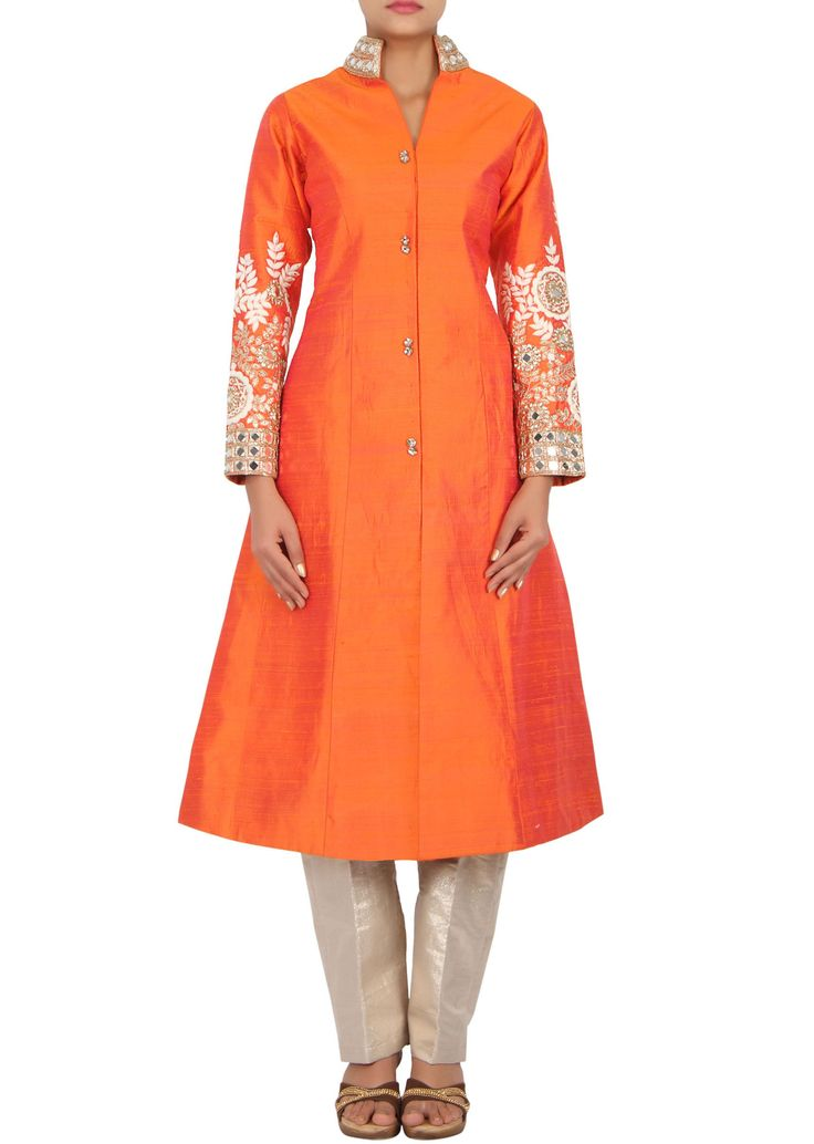Orange suit in raw silk embellished in mirror and thread work only on Kalki - Kalkifashion.com