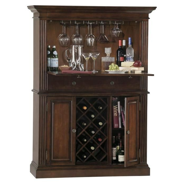This locking liquor cabinet is solid and substantial.