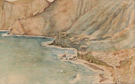MAXIMILIAN Александрович Волошин (1878-1932 РОССИИ) Коктебель, 1929 акварель 6 3/4 х 11 дюймов (17,1 х 27,9 см)