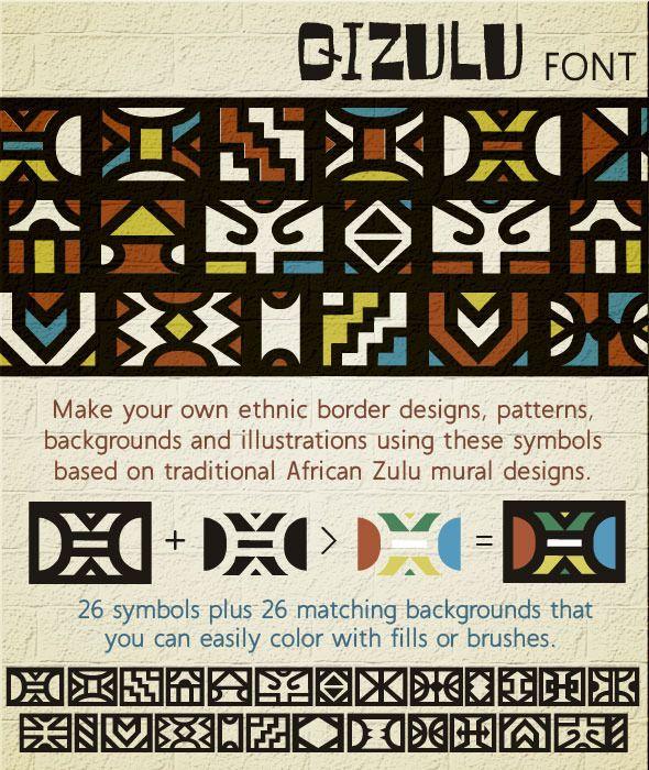 Qizulu: Africa Zulu Ethnic Symbols Font - Ding-bats Fonts