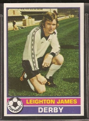 TOPPS-FOOTBALL ERS RED BACK 1977-#155- DERBY - LEIGHTON JAMES