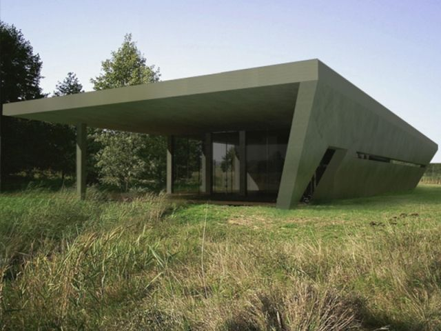concept of a modern home made of concrete; project: make Architekci