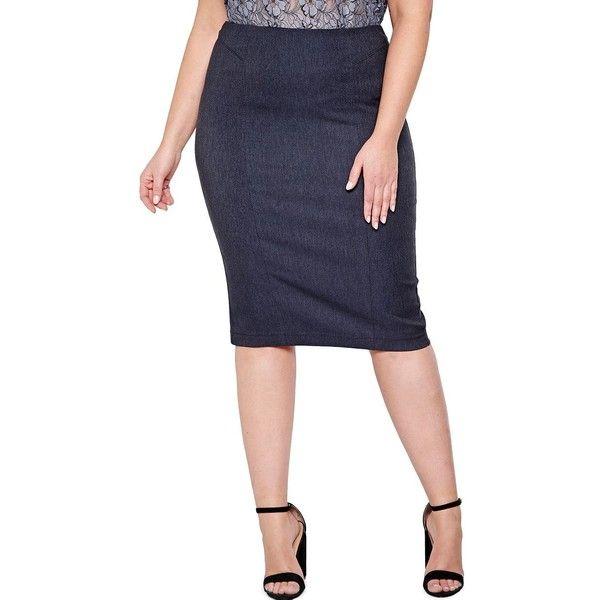 Addition Elle Michel Studio Women's Textured Back-Slit Skirt ($29) ❤ liked on Polyvore featuring skirts, dark denim, long pencil skirt, pull on skirts, dark denim skirt, pencil skirts and maxi pencil skirt