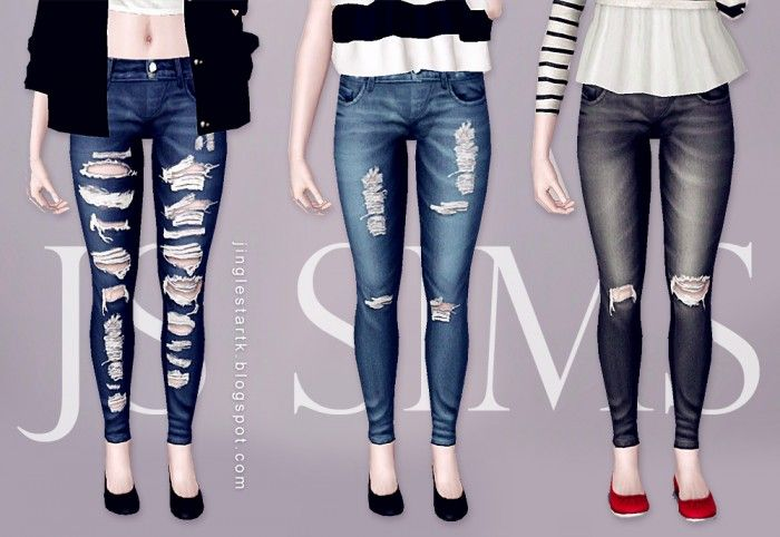 Denim Ripped Jeans by JS Sims3 - Sims 3 Downloads CC Caboodle