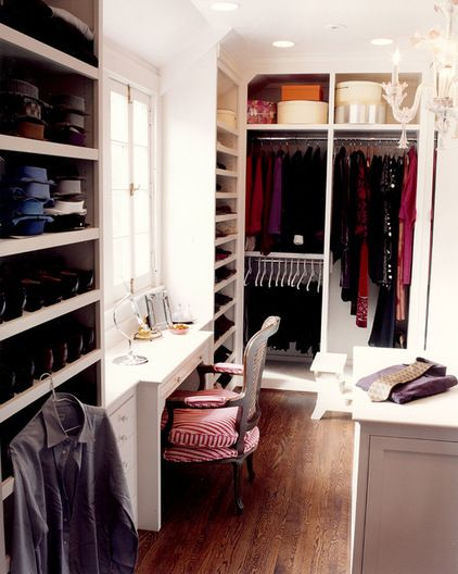 traditional closet by J.A. Smith Construction & Design Studio  (idea for window in dormer walk-in closet, also like chair for vanity)