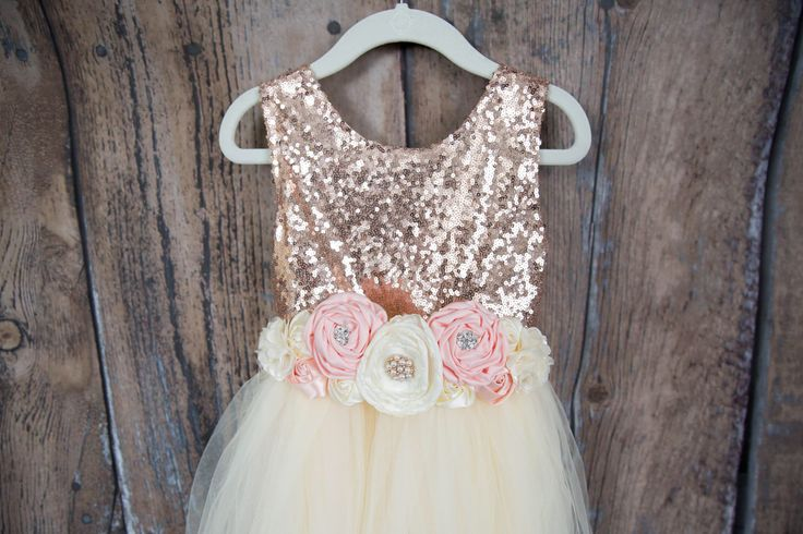 Cream Champagne Flower Girl Dress, Rose Gold Sequin Top, Floor Length Dress, Beige Wedding, Sash Belt, Tutu, Ball Gown, Boho Chic Country by NicolettesCouture on Etsy https://www.etsy.com/listing/517666702/cream-champagne-flower-girl-dress-rose