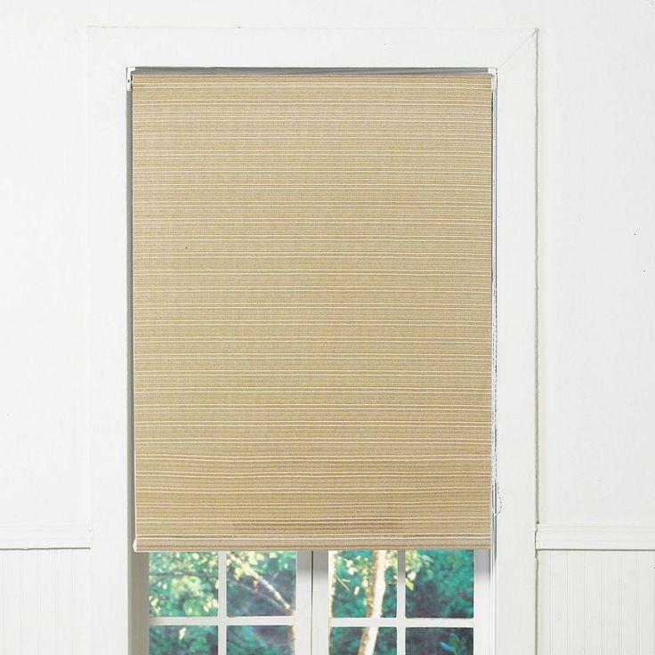 Tuxedo Indoor Outdoor Light Filtering Roller Shades, Brown