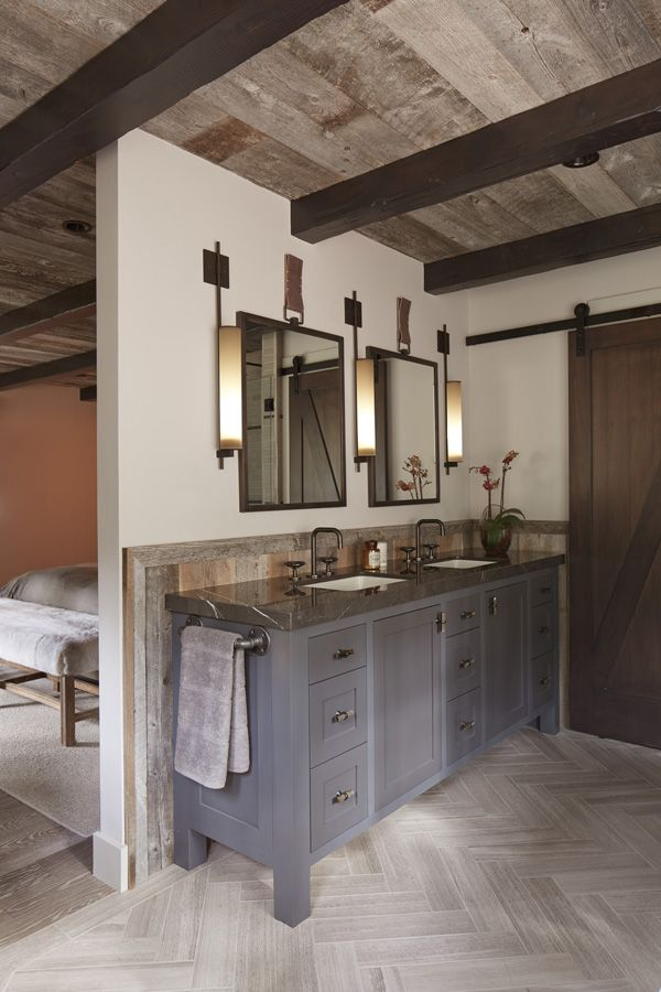 Dream home in Tahoe: When rustic meets modern- master bedroom and bathroom