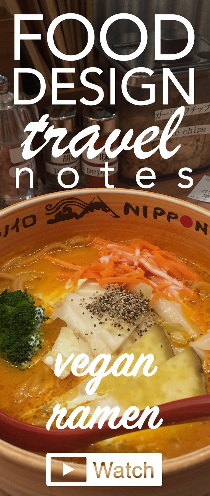Food Design Travel Note: Vegan Ramen in Tokyo, Japan! Ramen are conquering the world, and they are delicious! But what about those of us who are vegan and vegetarian? I've found a little place who won awards for its vegan ramen! Watch my experience here: http://francesca-zampollo.com/vegan-ramen-in-tokyo/