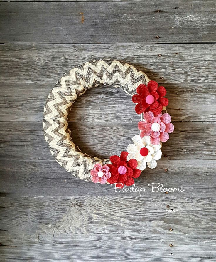 Valentine Wreath, Burlap Valentine's Day Wreath, Spring Wreath, Chevron Wreath, Burlap Wreath, Flower Wreath, Front Door Decor by BurlapBlooms on Etsy https://www.etsy.com/listing/491818178/valentine-wreath-burlap-valentines-day
