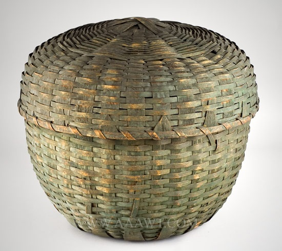Feather Basket, Ash Splint, Original Green Paint  Domed Top, Pushed Up Bottom  19th Century