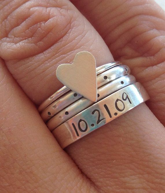 Sterling silver HEART, POLKA DOT and custom personalized anniversary date stacking ring set