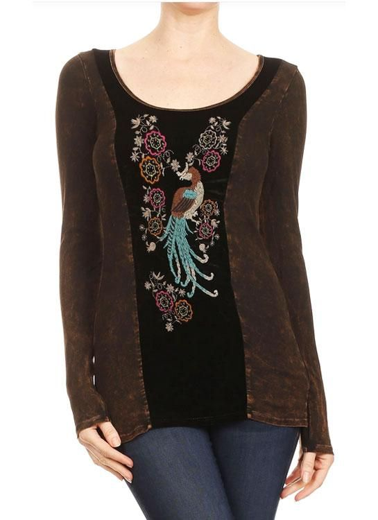 Embroidered Peacock Shirt