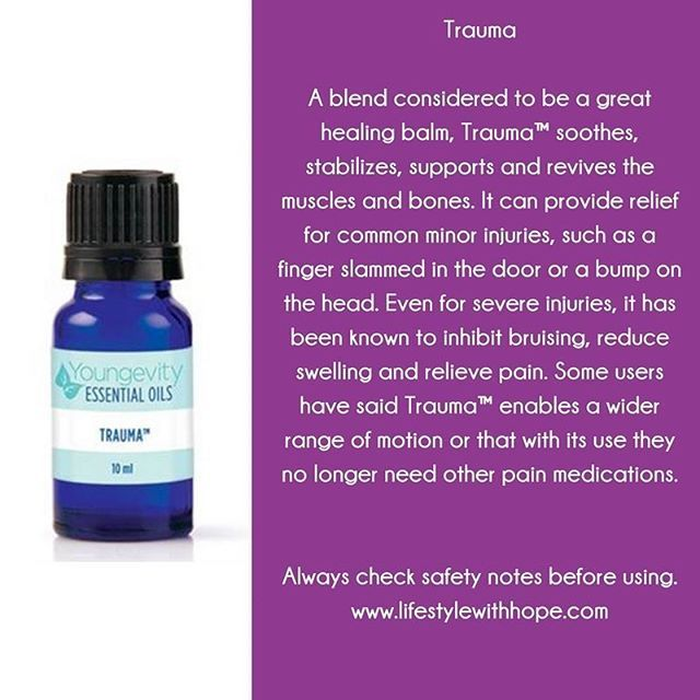 Trauma: A great oil to help with those aches and pains!  For more information about this essential oil, or any of the other essential oils in the #youngevity family, check out my blog at www.lifestylewithhope.com #traumaessential oil