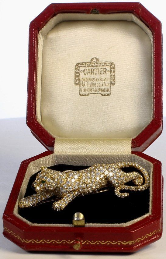 Trinket box, diamond, onyx and emerald panther by Cartier, France