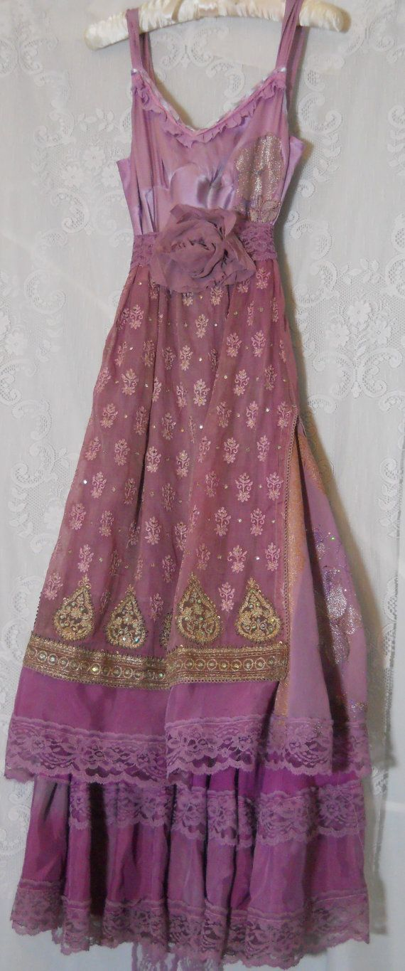 RESERVED for medusian Purple beaded dress maxi by vintageopulence, $150.00