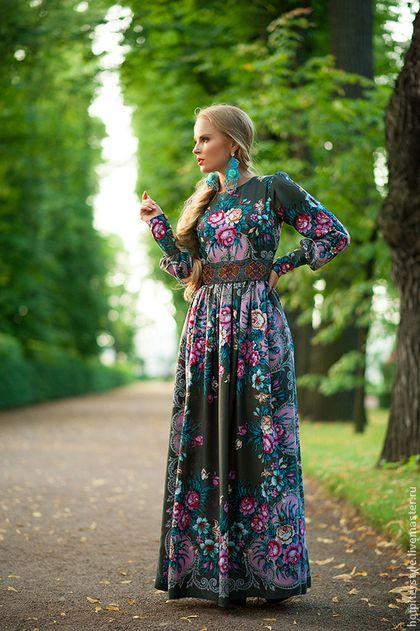 """Платье """"Любить по Русски"""" - цветочный,платье из платка,платье в цветы"""
