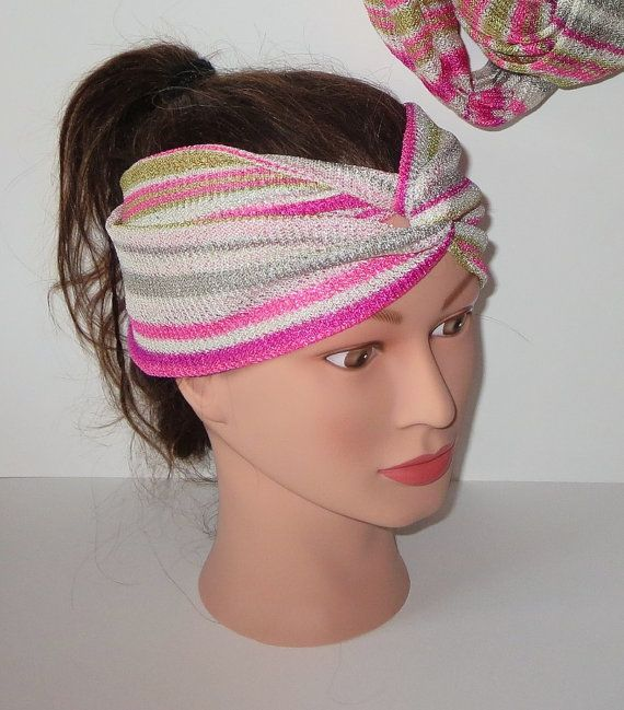 Pink Missoni Head Wrap Infinity scarf Matching Set by TiStephani, $56.00
