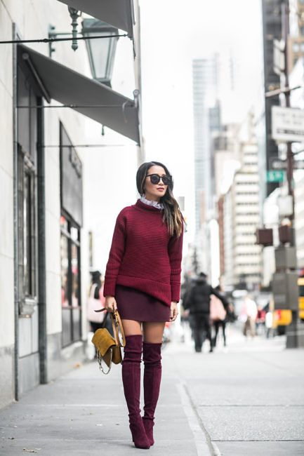 Burgundy Love :: Turtleneck sweater & Tall boots    Tweet  Happy Wednesday everyone! Burgundy love today with a hint of yellow. The weather in NYC is definitely getting cooler and I love every minute of it! More layering to come and more over-the-knee boots to share!  Layering a tulle tee under a funnel neck sweaterfor more texture and structure. And with thisall burgundy look I like adding a little bit of yellow to create an autumn color styling palette.  Thank you so much for reading! And…