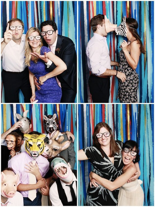 fun photobooth crepe paper background + props ~ the bride made the kooky glasses herself!