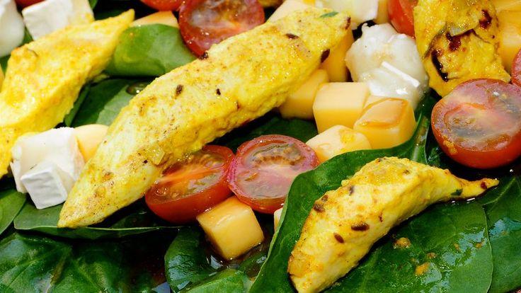 Receta   Pollo marinado con ensalada de espinacas - canalcocina.es
