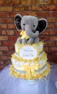 Baby Boy or Girl Diaper Cake Yellow Elephant Shower Gift Decoration