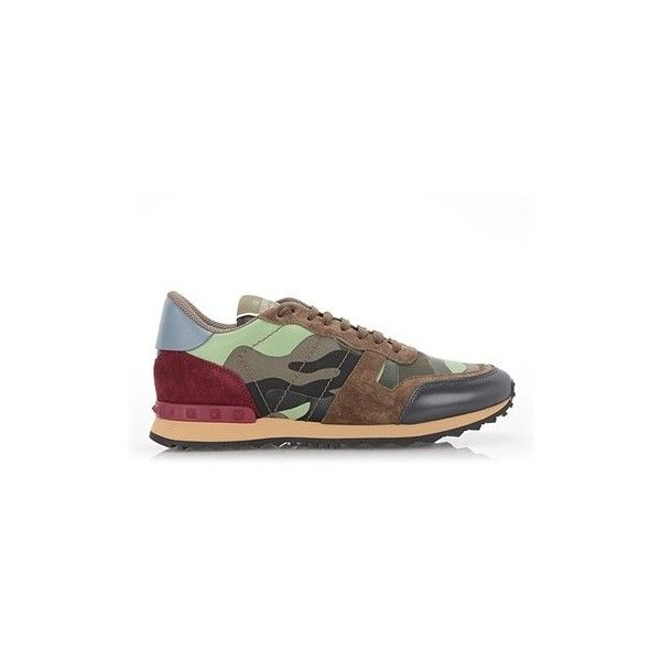 VALENTINO GARAVANI Leather and Suede 'Rockrunner' Sneakers ($427) ❤ liked on Polyvore featuring men's fashion, men's shoes, men's sneakers, camouflage, valentino mens shoes, mens suede sneakers, mens camo sneakers, valentino mens sneakers and mens suede shoes