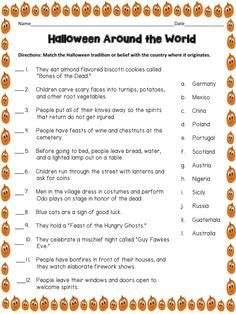 Halloween Around the World: Students will match the Halloween tradition with the country where it originated. Use it as a simple research assignment or a fun trivia activity. Free download from More Than a Worksheet!