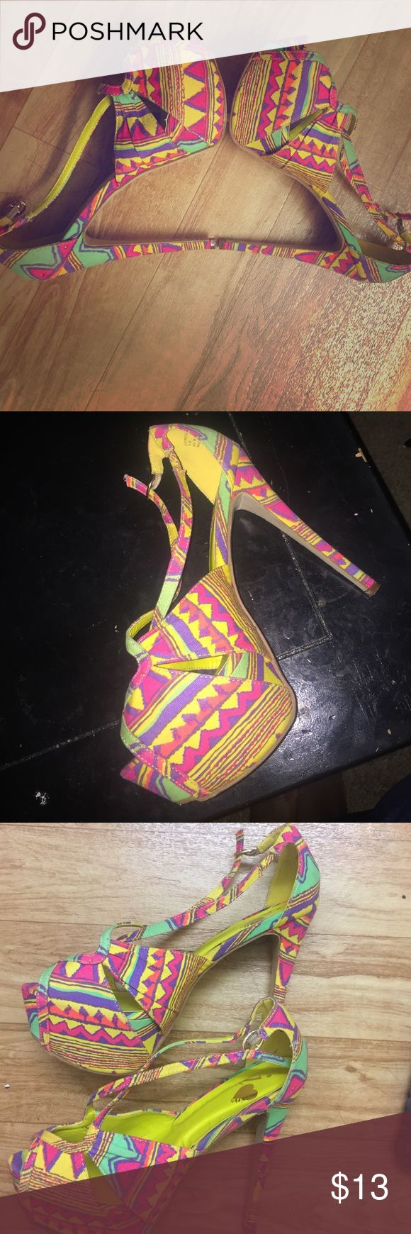Multi coloured shoes ! High heels sandals Very fun hi fashion color heels Shoes Heels