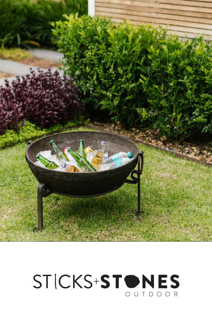 Our Vintage Kadai Bowl – Including Low Stand is perfect as an ice pit to keep your drinks chilled and ready. Cool down during the day and then, fire it up when it gets dark. At Sticks + Stones Outdoor, we travel the globe to source the most stunning, affordable, practical and stylish items to help you create your own beautiful outdoor space. #outdooraccessories #icepit #firepits #BBQ #outdoorcooking