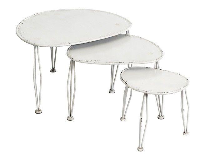 Soffbord ovalt 3 delar, vit