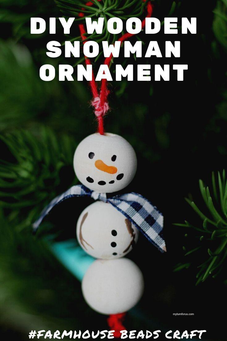 Wooden Bead Ornament Beaded Ornaments Diy Wooden Snowman Beaded Ornaments