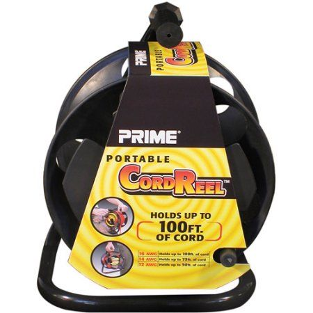 Prime Portable Cord Reel With Metal Stand, Black, Holds 100-Ft of Cord, Multicolor