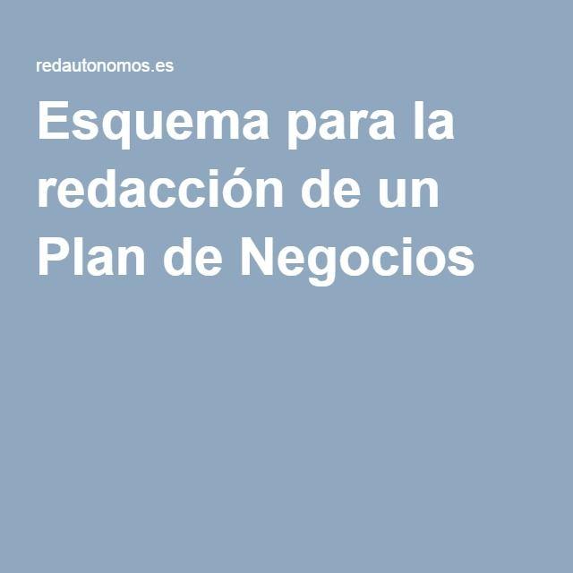 Esquema para la redacción de un Plan de Negocios