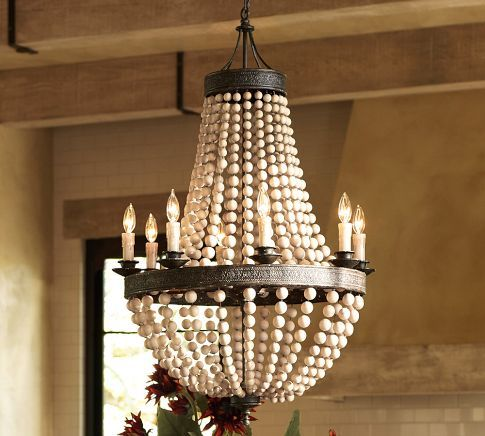 Elena wood bead chandelier pottery barn
