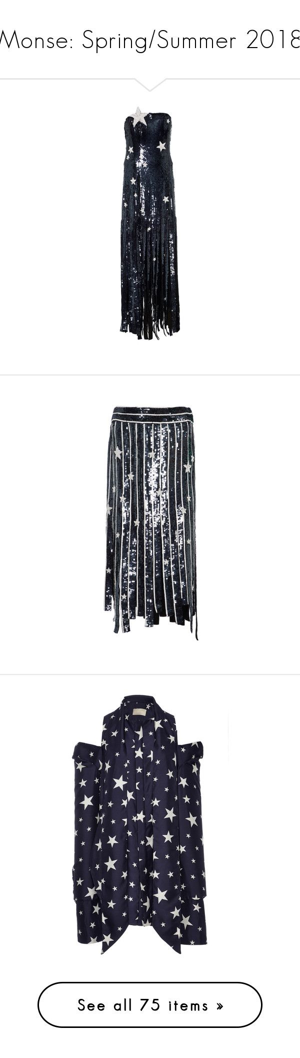 """""""Monse: Spring/Summer 2018"""" by livnd ❤ liked on Polyvore featuring Monse, livndfashion, livndmonse, springsummer2018, navy, skirts, navy blue sequin skirt, sequin skirt, striped skirt and striped sequin skirt"""
