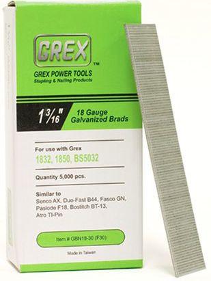 GREX GBN18-30 (F30) 1-3/16 Inch Length 18 Gauge Galvanized Brad Nails
