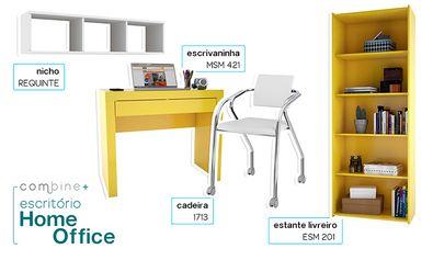Conjunto para Escritório/Home Office com Mesa para Computador/Escrivaninha, Estante Livreiro, Nicho e Cadeira Amarelo/Branco - Combine +