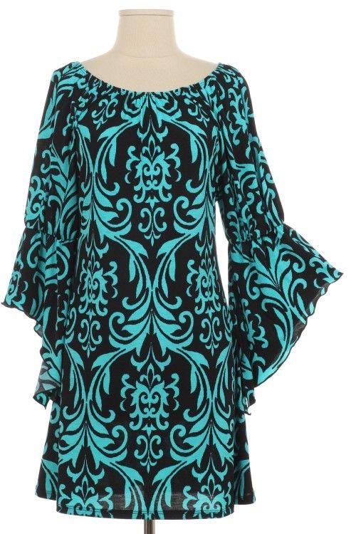 Regal Elegance Turquoise Damask Dress - Plus Size $38