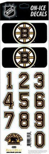 NHL Boston Bruins - Hockey Helmet Decals - Authentic Center Ice Decal Sheet by SportStar. $9.99. These game and all-weather tough helmet decals are the same decals used by the NHL teams. Featuring the official team logos and colors, these decals will stick to all helmets and any non-porous surface.