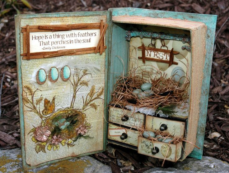 Little vintage shabby chic style bird book made from a plain paper mache book. I created the little drawers section. I used Tim Holtz hitch fasteners for the knobs. The drawers will slide in and out.