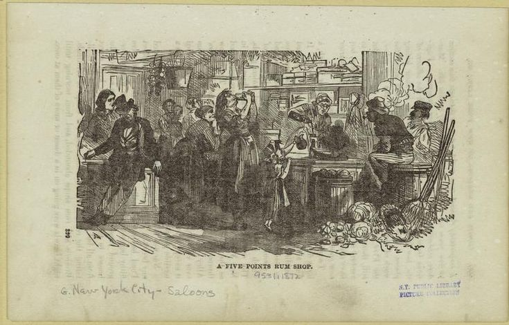 A Five Points Rum Shop. From New York Public Library Digital Collections.