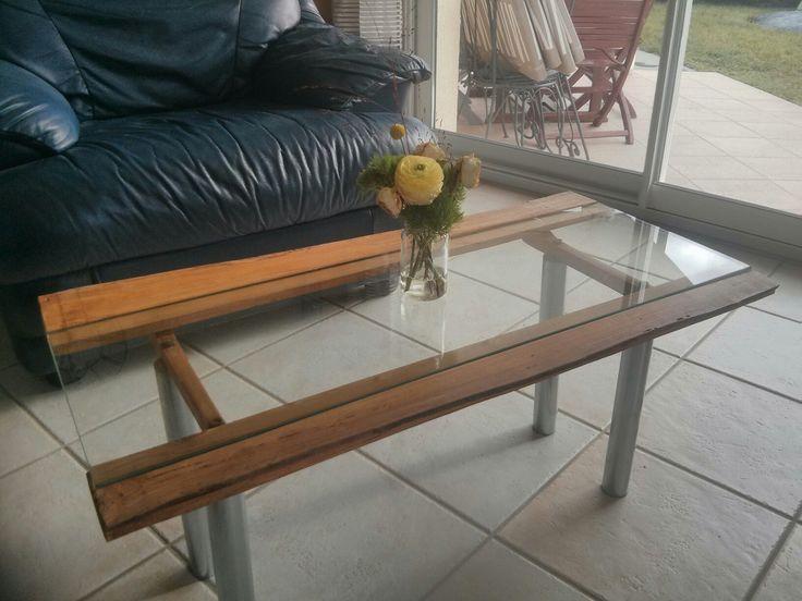 Toupalet Table de salon bois/plateau verre Pieds metal L 88Cm l 46Cm H 40Cm 44€