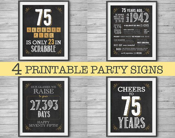 75th Birthday Or Anniversary Sign Printable Party Decor By