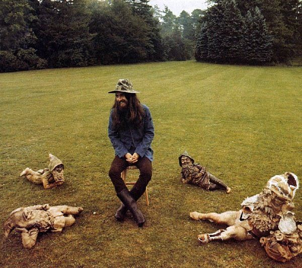 "George Harrison with Gnome friends - preparing for the cover of ""All Things Must Pass"""