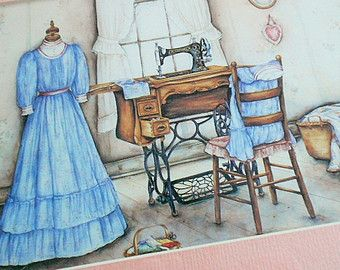 Vintage VICTORIAN DRESS FORM Picture Treadle Sewing Machine Print Oak Wood Frame Peach Pink Mat Glass Chair Quilt Fabric Notion Basket Heart