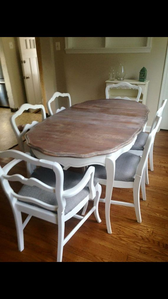 A French Provincial Dining Room Set that can be custom refinished for you in colors of your choice. It is in good vintage condition structurally with scratches in the finish. Definitely a candidate to be refinished and our price includes us doing that for you. We renew vintage furniture with specialty paint and painting techniques. Let us Shabby Chic it for you. We will recover the seats of the chairs as well and require that you provide the fabric. See pictures for color chart and an…