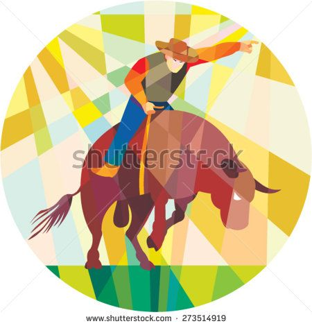 Low polygon style illustration of rodeo cowboy pointing riding bucking bull set inside a circle.
