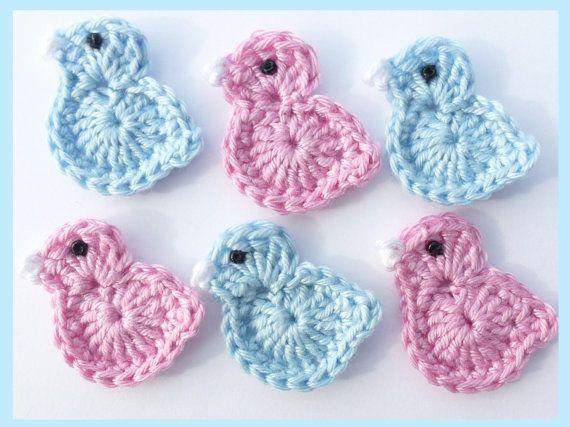 Crochet applique 6 small crochet birds cards от MyfanwysAppliques, £3.00