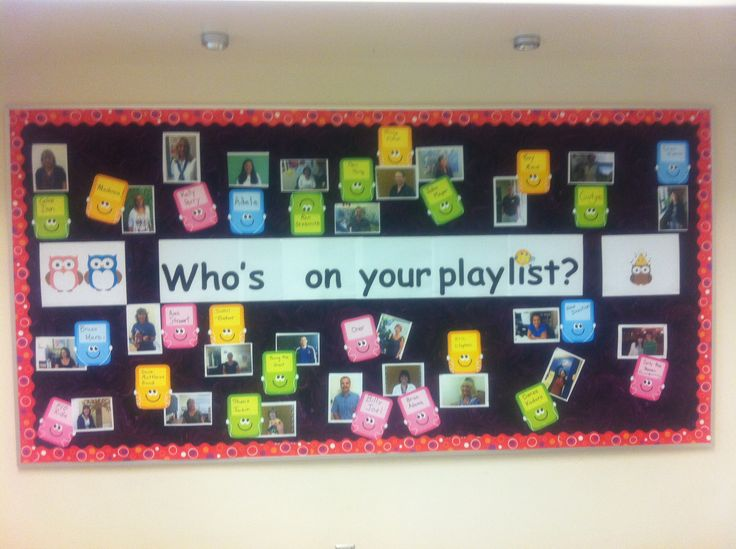 Fun Music Bulletin Board for back to school. Take a pic of faculty and they write on the ipod their answer to the question. Kids love seeing what kind of music their teachers are into!
